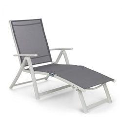 Blumfeldt Pomporto Lounge leżak PVC PE aluminium 7-stopni biały/jasnoszary