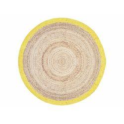 Vente-unique Okrągły dywan indore - 100% juty - śred. 150 cm - kolor naturalny i żółty