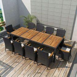 Zestaw mebli ogrodowych, 21 części, polirattanowy, czarny