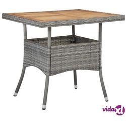 vidaXL Stół ogrodowy, szary, polirattan i lite drewno akacjowe, kolor szary