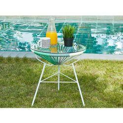 Stół ogrodowy alios – włókno technorattanowe – kolor biały, szary, zieleń toni wodnej marki Vente-un