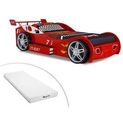 Łóżko samochód RUNNER z szufladą — 90 × 200 cm — czerwone + materac STELO KIDS 90 × 200 cm