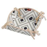 Dekoria  koszyk na pieczywo, czarno-szare rąby na białym tle, 20x20 cm, geometric