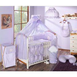 MAMO-TATO pościel 15-el Miś z serduszkiem w fiolecie do łóżeczka 60x120cm - Moskitiera