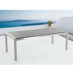 Beliani Stół szary polerowany ze stali nierdzewnej 220cm - granitowy blat - dzielona płyta - grosseto