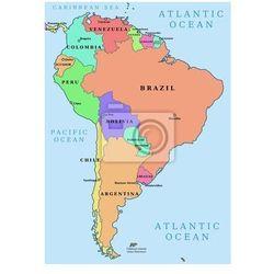 Fototapeta Ameryka Południowa - kolorowe wektorowa mapa polityczna (mapa szkolna)