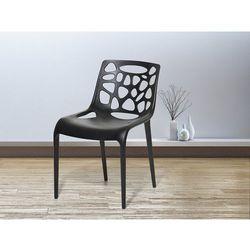 Beliani Krzesło ogrodowe - plastikowe czarne - krzesło z tworzywa sztucznego - morgan (7081455433950)