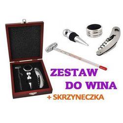 Zestaw do Wina + Drewniana Skrzyneczka.
