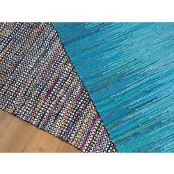 Dywan - niebieski - 140x200 cm - bawełna - handmade - MERSIN