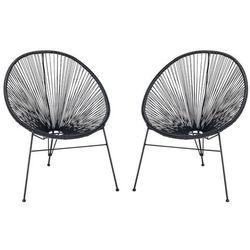 Zestaw 2 krzeseł ogrodowych alios ii – włókno technorattanowe – kolor czarny marki Vente-unique