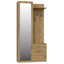 Tes Garderoba szafa z lustrem + wieszak dąb artisan
