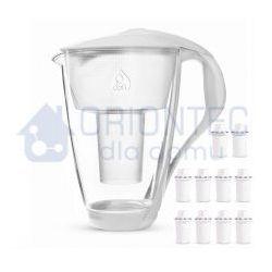Dzbanek filtrujący szklany crystal led biały 2l + 10 wkładów classic marki Dafi