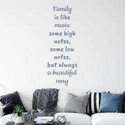 Wally - piękno dekoracji Szablon do malowania sentencja family is like music 2435
