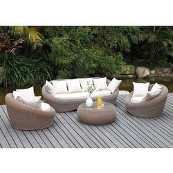 Vente-unique Salon ogrodowy whiteheaven z technorattanu w kolorze karmelowym: sofa, 2 fotele i ława