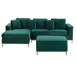 Sofa prawostronna welurowa z otomaną ciemnozielona OSLO, kolor zielony
