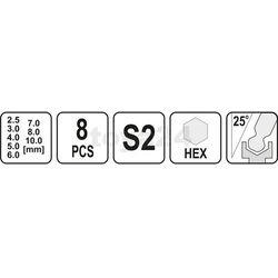 Zestaw kluczy trzpieniowych hex (z kulką) z rękojeścią 8cz / YT-05597 / YATO - ZYSKAJ RABAT 30 ZŁ (5906083055973)