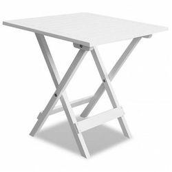 Biały drewniany stolik ogrodowy - Caden, vidaxl_41436