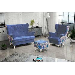 """Zestaw """"RIKI"""" sofa + fotel+podnóżek - popiel"""