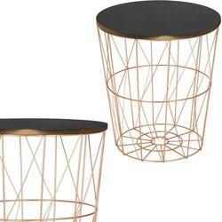 Stolik kawowy loft, kosz metalowy industrialny 40 cm miedziany marki Springos