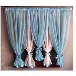 Dagmara firanka gotowa 150x400 cm Niebieska, kolor niebieski