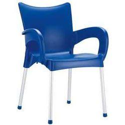 Krzesło z podłokietnikami do restauracji ogrodowe Romeo Siesta niebieskie