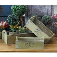 Nowe! 3x doniczki skrzynki drewniane na kwiaty prowansja - oliwkowa zieleń marki Italhouse