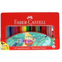 Kredki akwarelowe 48kol +gumka+ołówek+pędzelek+temperówka opak. metalowe Faber, FC6956