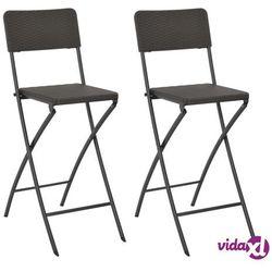 Vidaxl składane krzesła, 2 szt. hdpe i stal, brązowe, rattanowy wygląd