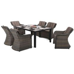Home & garden Meble ogrodowe aluminiowe capri 145 cm black / light grey dallas brown / taupe 6+1 (5902425328422)