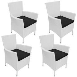 vidaXL Krzesła jadalniane do ogrodu, rattan, 4 szt. śmietankowe, kup u jednego z partnerów