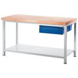 Rau Stół warsztatowy, stabilny, 1 szuflada w rozmiarze l, 1 półka z litego drewna bu