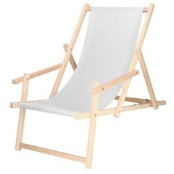 Leżak drewniany z podłokietnikami jasny szary marki Springos