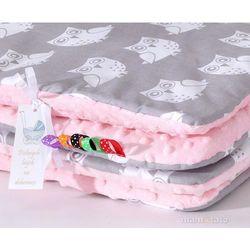 Mamo-tato komplet kocyk minky do wózka + poduszka sowa szara / jasny róż