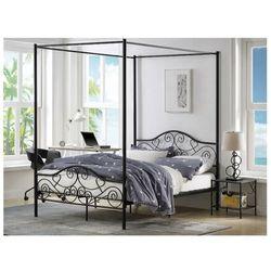Łóżko z baldachimem LEYNA - 140x190cm - Metal - Kolor czarny