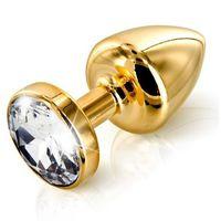 Plug analny zdobiony - Diogol Anni Butt Plug Round Gold 35 mm Złoty - sprawdź w wybranym sklepie