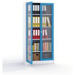 Szafka metalowa - drzwi z siatki metalowej, 1950 x 950 x 400 mm, szary / niebieski marki Kovos