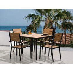 Aluminiowe meble ogrodowe brązowe - dla 4 osób - stół 95x95 cm - prato marki Beliani