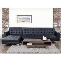 Sofa czarna - kanapa - skórzana - rozkładana - narożnik - ABERDEEN (7081459182236)