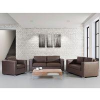 Skórzana sofa brązowa rozmiar XXL 2 sofy + 1 fotel HELSINKI
