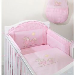 MAMO-TATO pościel 3-el Wesołe zajączki w różu do łóżeczka 70x140cm, kup u jednego z partnerów