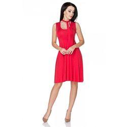 Czerwona Sukienka Wiązana na Karku, kolor czerwony
