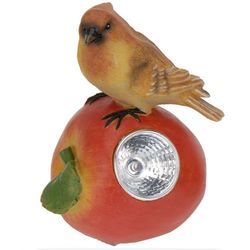 Lampa solarna ptaszek na owocu figurka kamienna - Wzór III