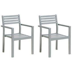 Beliani Zestaw do ogrodu 2 krzesła szare drewno matera (4260586355437)