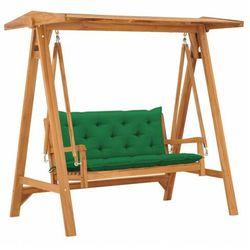 vidaXL Huśtawka ogrodowa z zieloną poduszką, 170 cm, drewno tekowe