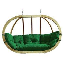 Fotel hamakowy dwuosobowy drewniany, Zielony Globo Royal chair weatherproof