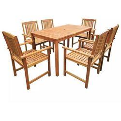 Zestaw mebli ogrodowych, 7 części, brązowy, drewno akacjowe marki Vidaxl