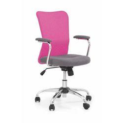 Fotel Andy różowy kolor różowy kółka do dywanów