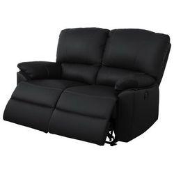2-osobowa skórzana sofa z elektrycznie regulowaną funkcją relaks MARCIS - Czarny, kolor czarny