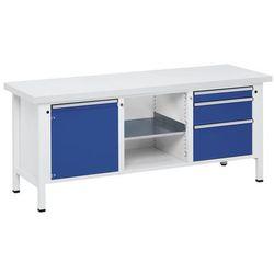 Stół warsztatowy, stabilny, 1 drzwi 540 mm, 3 szuflady, blat uniwersalny, części