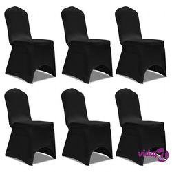 vidaXL Pokrowiec na krzesło, czarny x 6 (8718475884217)